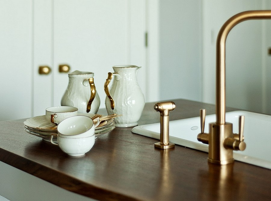 Faucets with a golden glint are perfect for a kitchen makeover in 2015 [Design: Workstead]