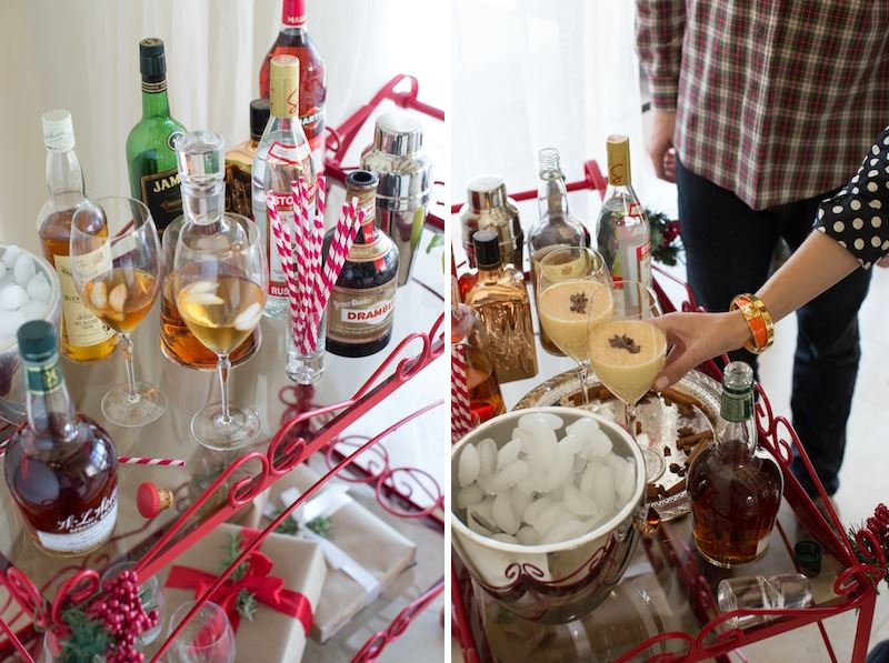 Festive holiday bar cart