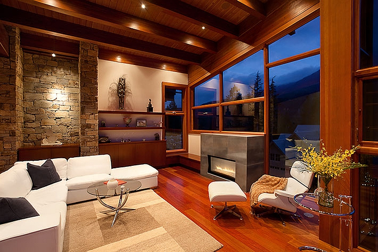 Fireplace creates a beuatiful focal point inside the living room
