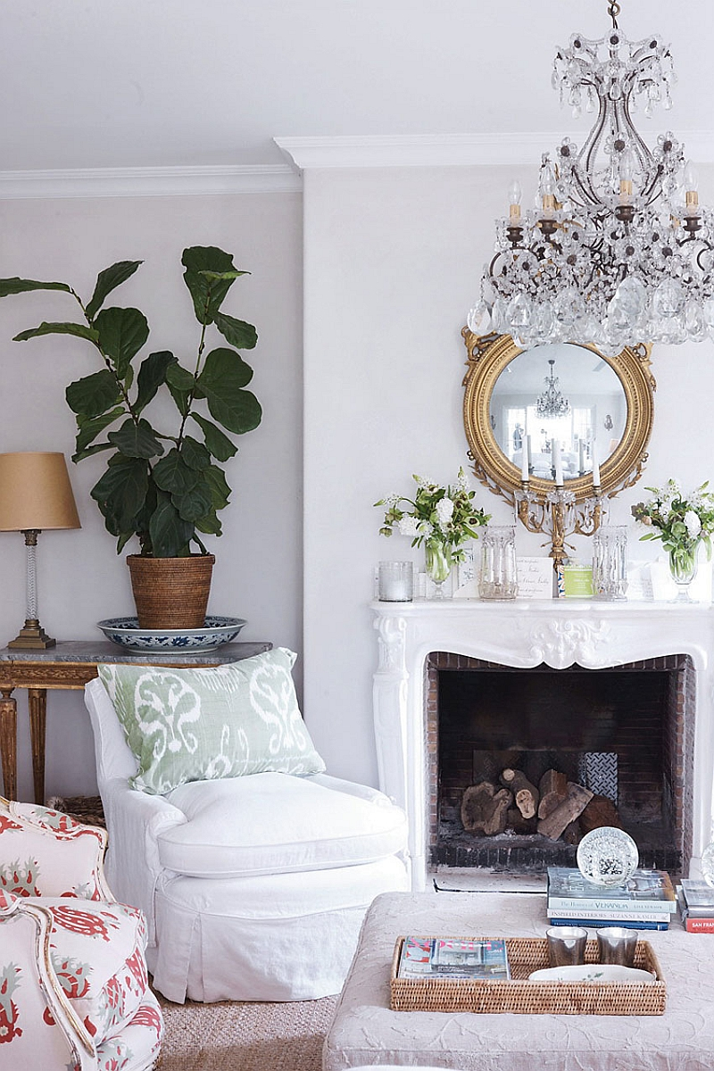 Fireplace mantel decorating idea and a sparkling chandelier