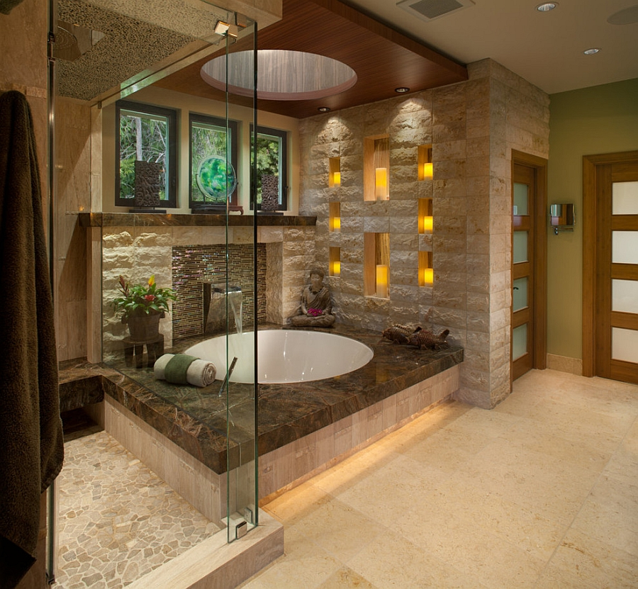 Floating bamboo ceiling for the Asian style bathroom [Design: James Patrick Walters]