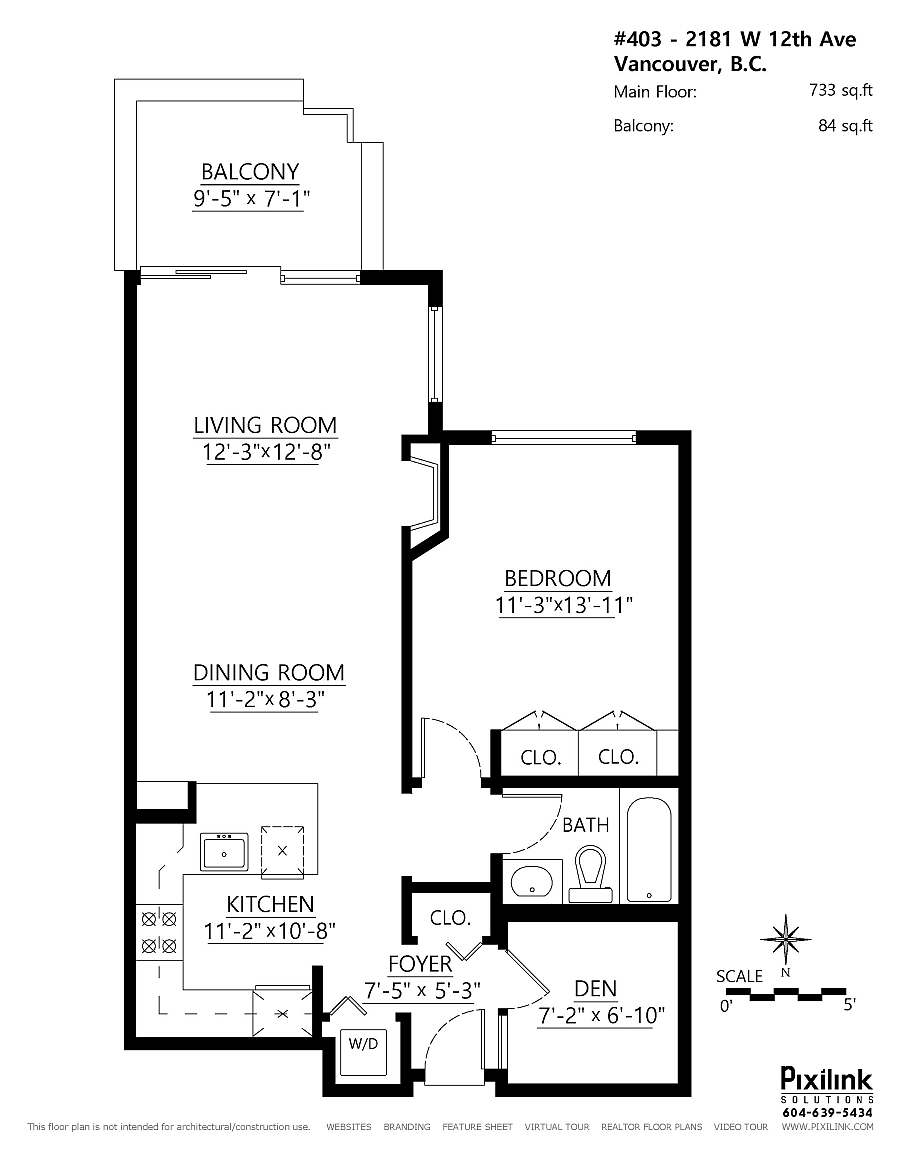 Floor plan for small single bedroom apartment with balcony