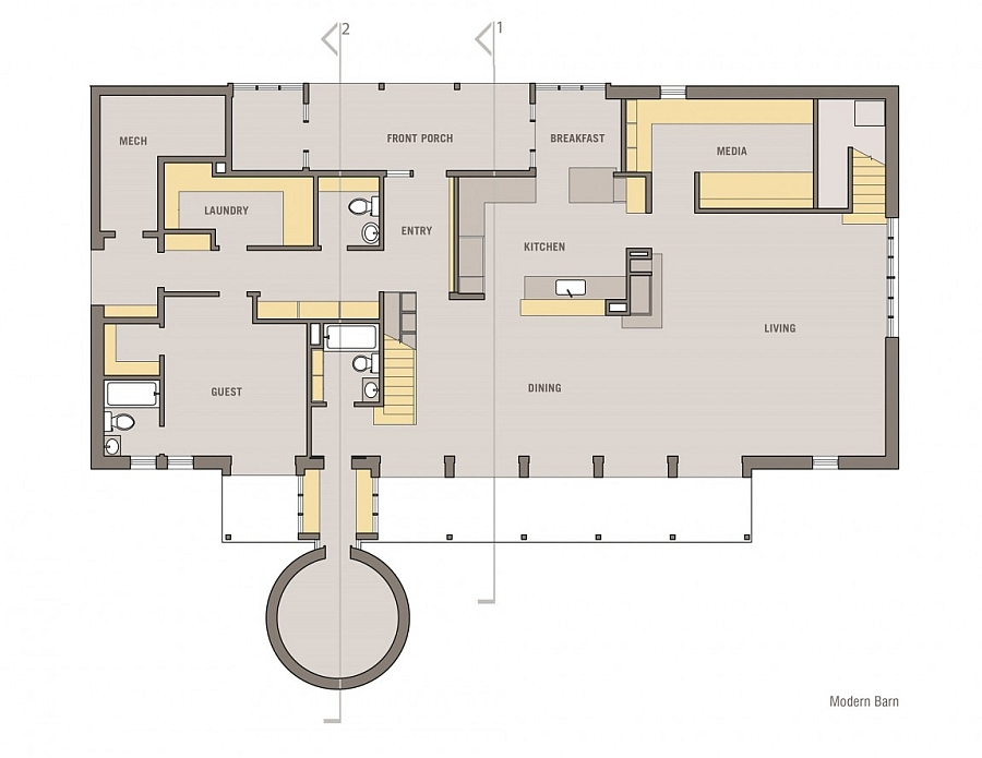 Floor plan of the lower level of the loft-like barn house