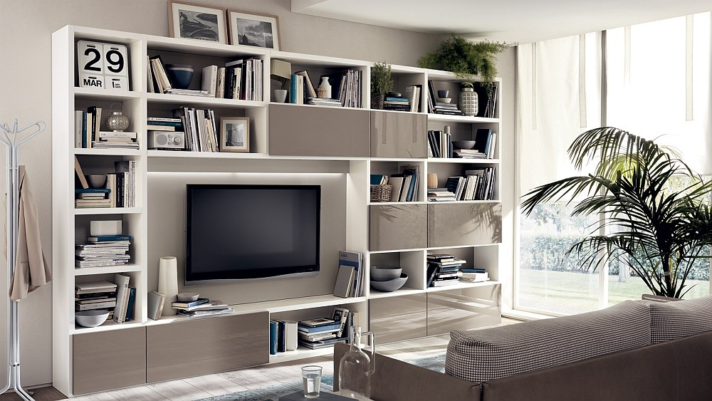 Fluida Wall System in Tundra Grey for the living room