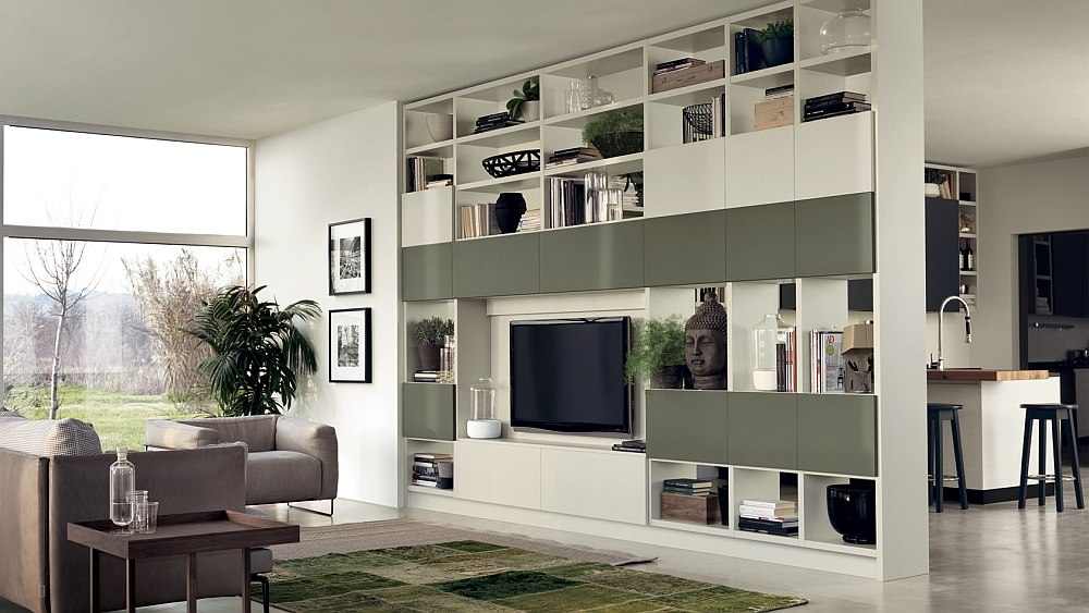 12 dynamic living room compositions with versatile wall for Scavolini pareti attrezzate