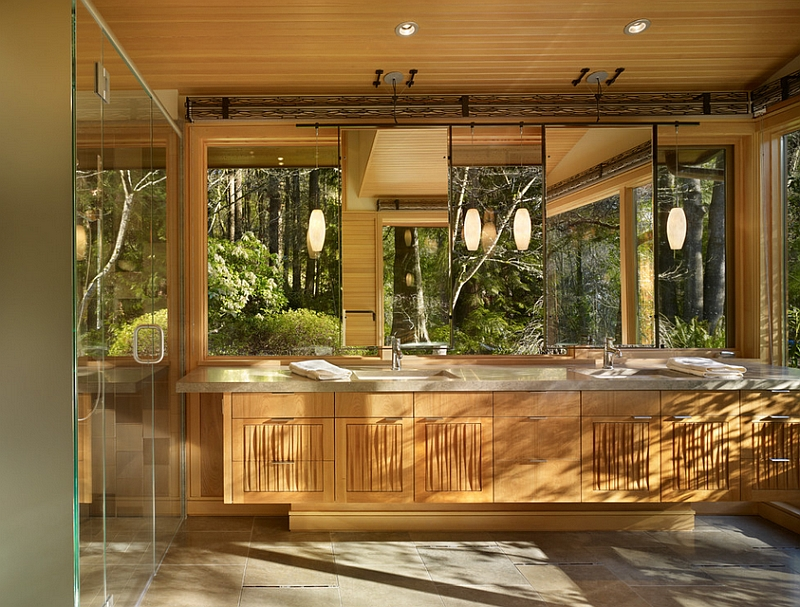 Forest outside adds to the aura of the bathroom [Design: FINNE Architects]