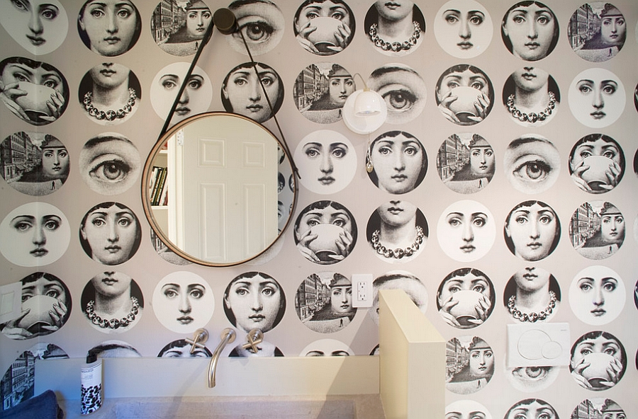 Fornasetti Tema e Variazioni Wallpaper in the contemporary bathroom [Design: David Howell Design]