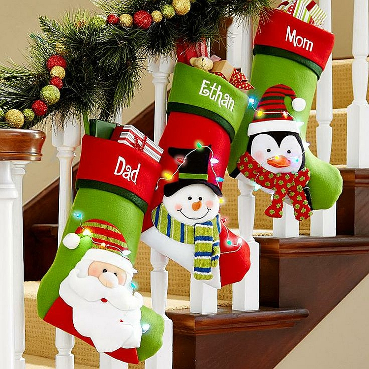 Fun-filled Christmas decorations for the staircase [From: The Suburban Mom]
