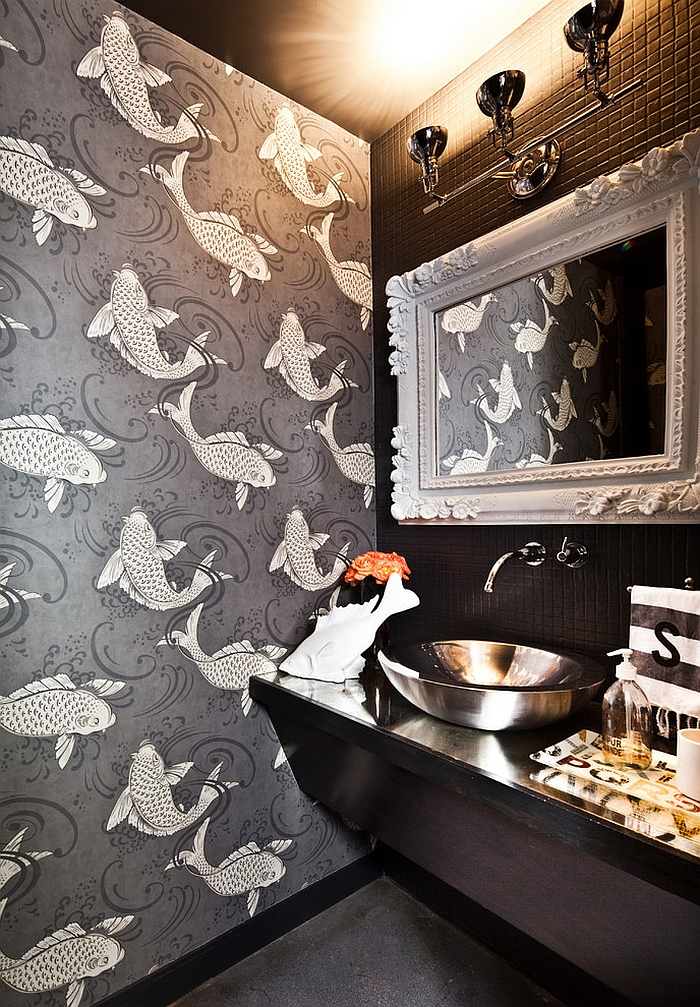 Fun wallpaper brings koi fish into the powder room [Design: Laura U]