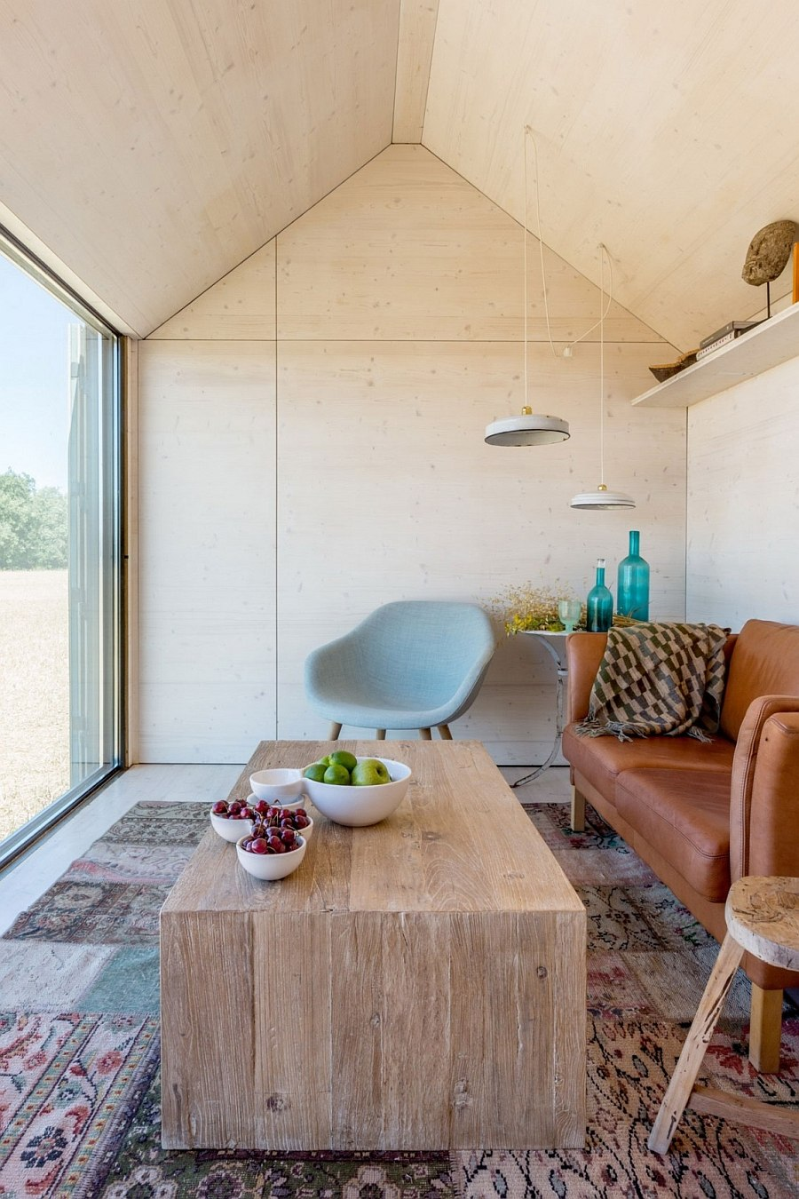 Gabled roof gives the inreior an airy appeal