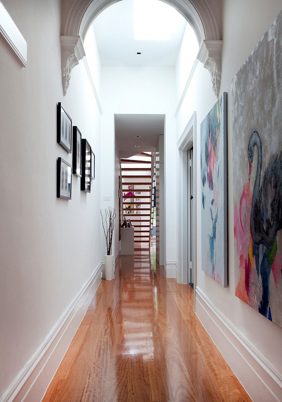 Gallery styled corridor with beautiful artwork
