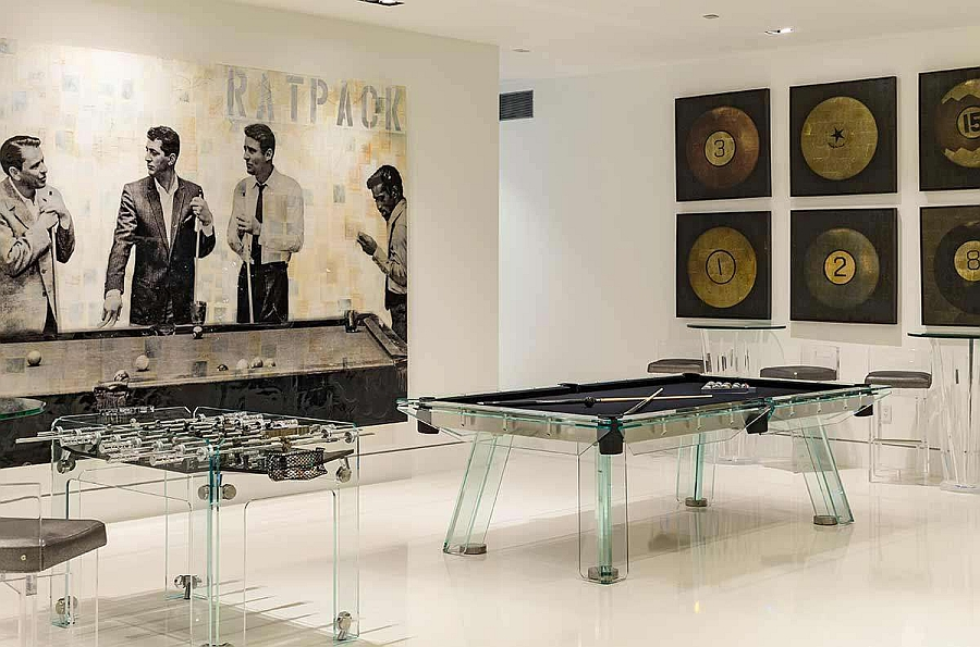Game zone with a fooseball table and pool table in acrylic!