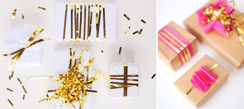 Gift wrap with gold accents 10 DIY Holiday Gift Wrapping Ideas