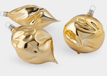Gold Wrinkle Ornaments