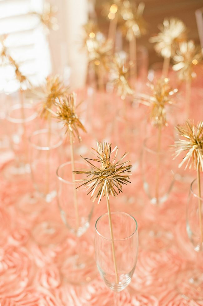 Gold tinsel drink stirrers from Em for Marvelous