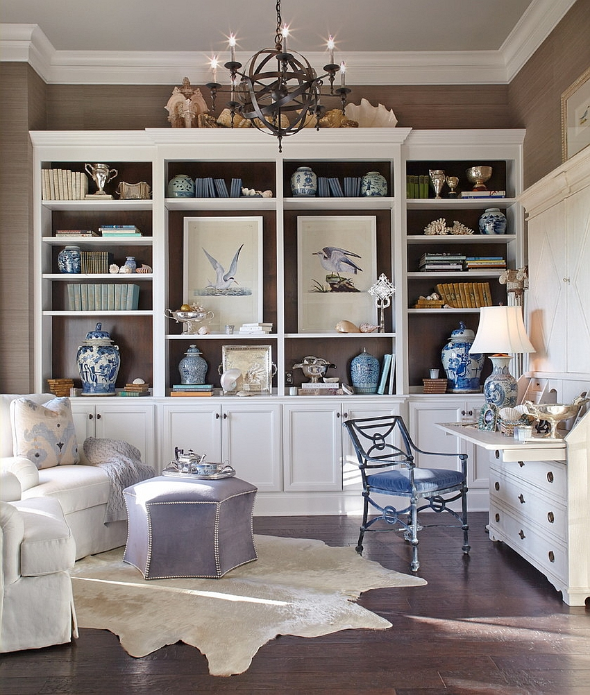 Gorgeous beach style home office and study [Design: CDA Interior Design]