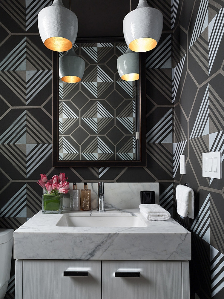 Graphic pattern wallpaper adds a touch of retro to the contemporary powder room 20 Gorgeous Wallpaper Ideas for Your Powder Room