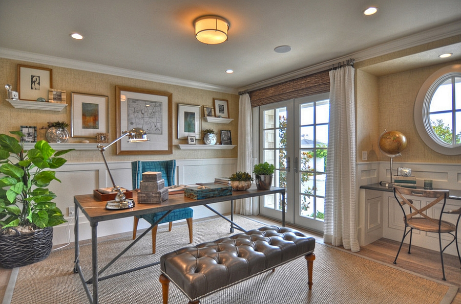 Grasscloth adds lovely texture to the beautiful beach style home office [From: Spinnaker Development]