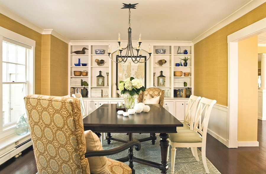 Grasscloth wallcovering adds both color and texture to the room [Design : Taste Design]