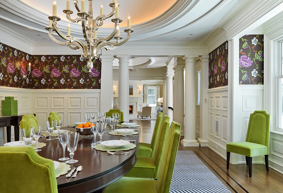 View In Gallery Green Dining Table Chairs Bring Cheerful Elegance To The  Space [Design: Jan Gleysteen Architects