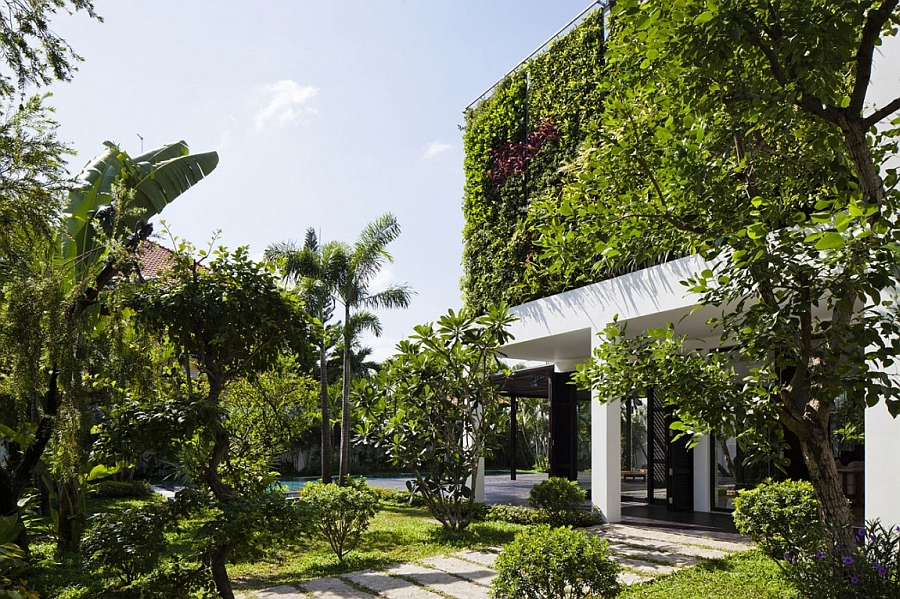 Green living wall exterior of the private villa in Ho Chi Minh