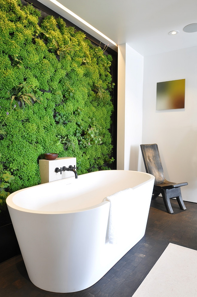 Green living wall for the contemporary bath [From: Habitat Horticulture]