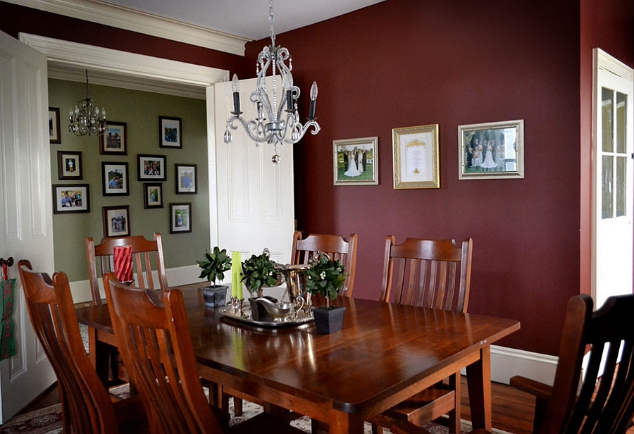 12 red and green dining rooms for the holidays and beyond for Dining room kitchen paint colors