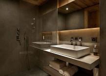 Grey tadelakt and white Turkish limestone shape the chalet bathroom