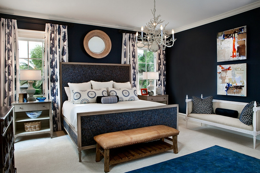 fine dark blue accent wall bedroom walls in ideas