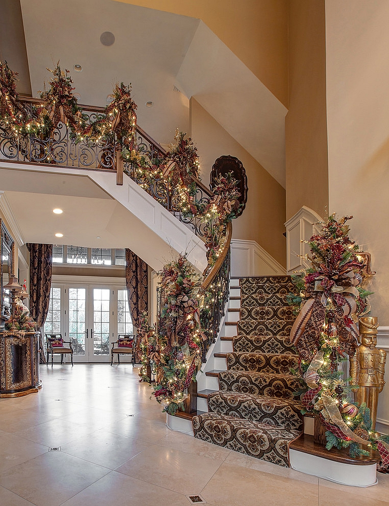 hand crafted christmas garland for the staircase design linly designs - How To Decorate Stairs For Christmas