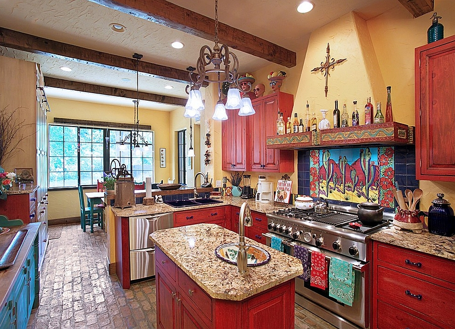 Hand-painted tiles give the kitchen an inimitable backsplash