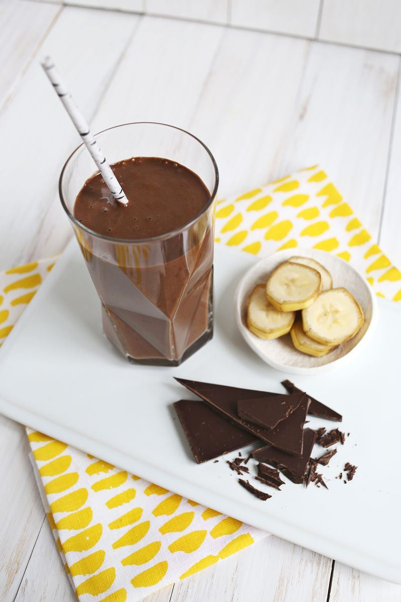 Healthy chocolate banana shake from A Beautiful Mess