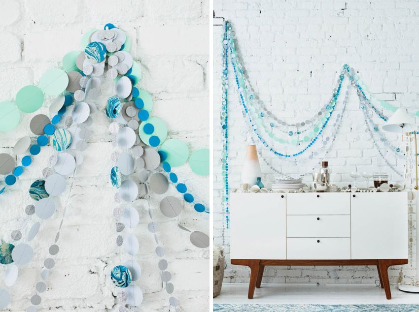 Holiday dot garland in shades of blue and grey
