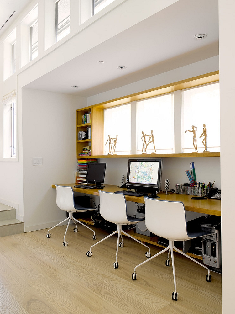 Home office with three workstations makes smart use of available space