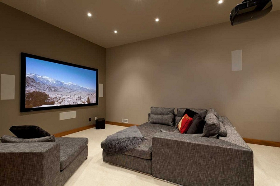 Home theater of the lavish Canadian chalet