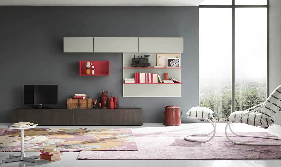 Design Wall Units For Living Room view in gallery contemporary wall unit system with space for tv bookshelves and storage living room View In Gallery Hot Pink Enlivens The Creative Living Room Wall Unit