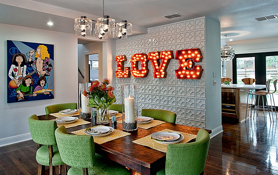 Illuminated sign on the wall is the perfect focal point for a festive celebration 12 Red and Green Dining Rooms for the Holidays and Beyond