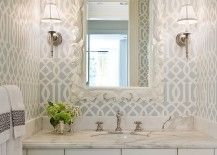 Imperial Trellis Wallpaper in the powder room