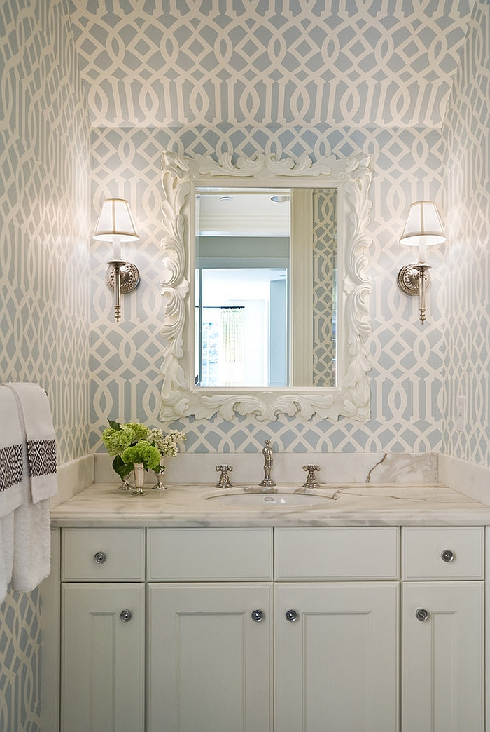 Imperial Trellis Wallpaper in the powder room [Design: Graciela Rutkowski Interiors]