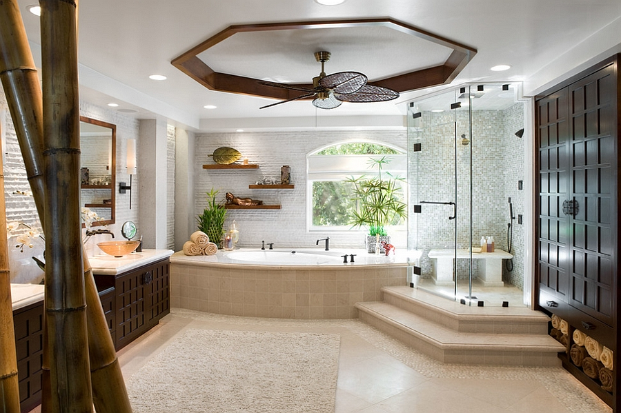 View In Gallery Impressive Bathroom With A Touch Of Bamboo Goodness [Design:  Arch Interiors Design Group
