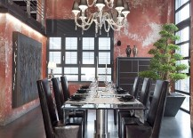 Industrial-dining-room-with-a-muted-red-backdrop-217x155