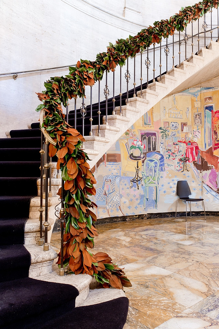 Innovative staircase garland with colors of fall [Photography: Rikki Snyder]