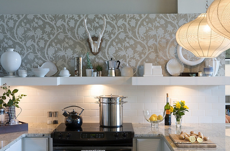 Interesting blend of tile and wallpaper in the kitchen