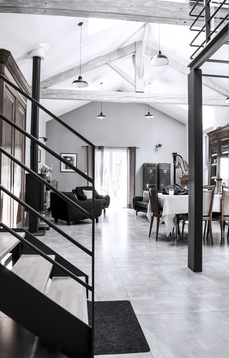 Interior of the French loft brings together old and the new