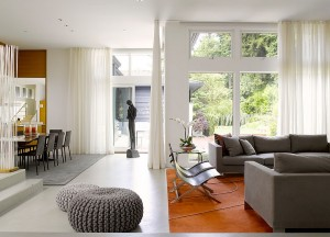 Interior with white sheer curtains and decor in gray