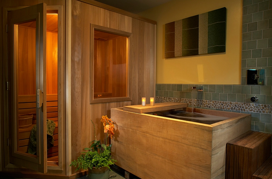 Japanese bathroom with a lavish soaking tub [Design: Harrell Remodeling]