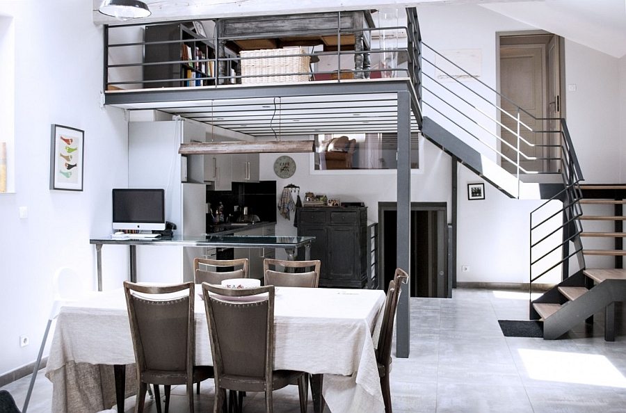 Kitchen and dining area of the renovated loft