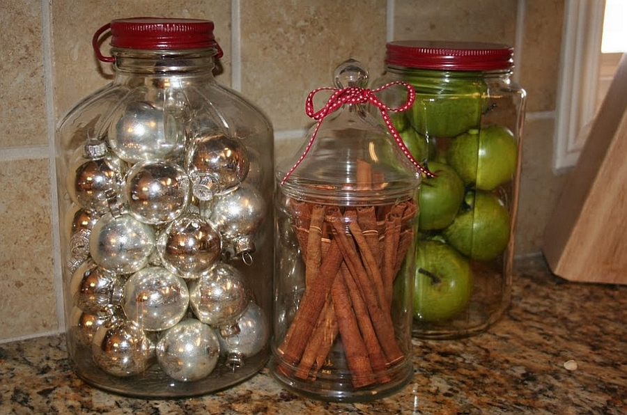 Kitchen jars with Christmas decorations add festive glint to the room [Design: 320 Sycamore]