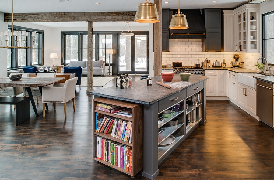 Kitchen Island for those who love their cook books! [Design: Bay Cabinetry & Design Studio]