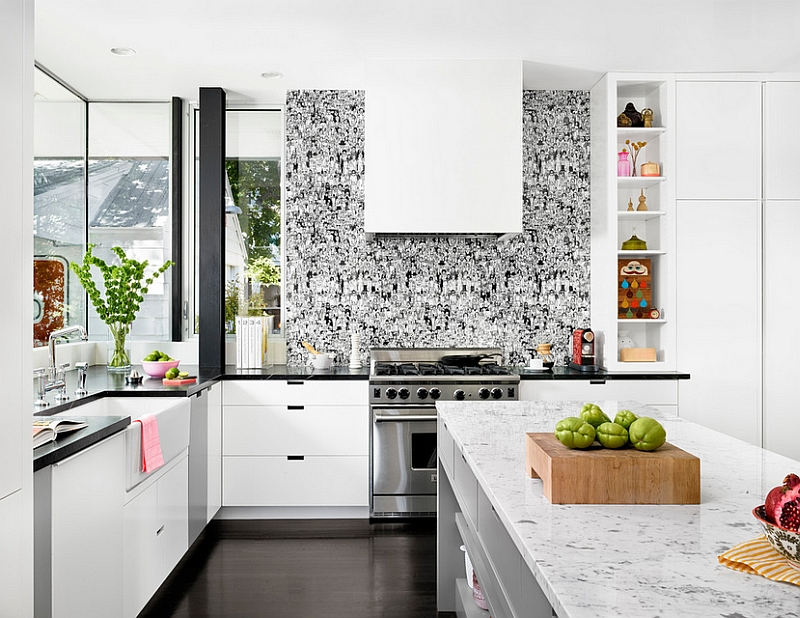 Kitchen wallpaper ideas wall decor that sticks for Modern kitchen wallpaper ideas
